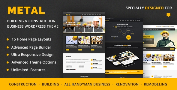 Metal – Building & Construction Business WordPress Themes – WP Theme Download