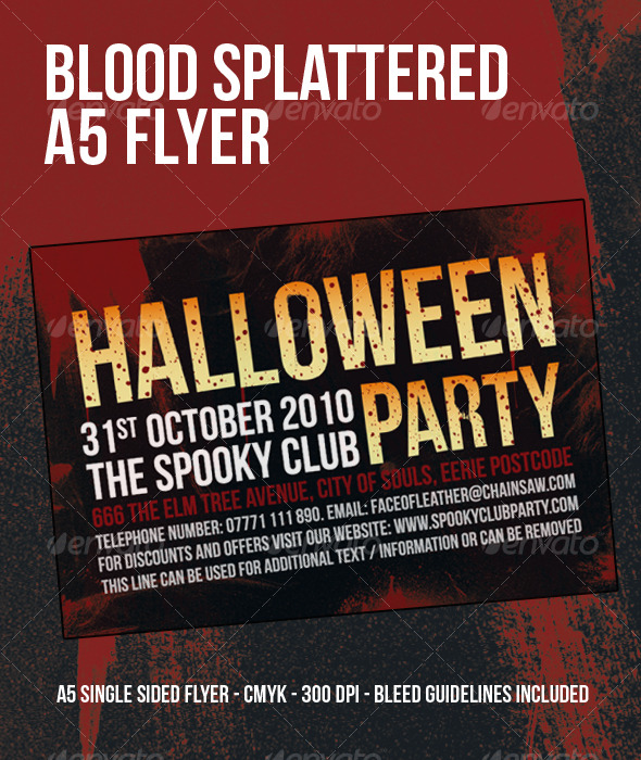 blood splattered halloween party flyer download
