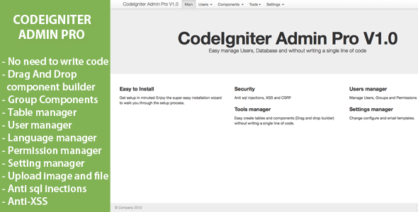 CodeIgniter Admin Pro – Download