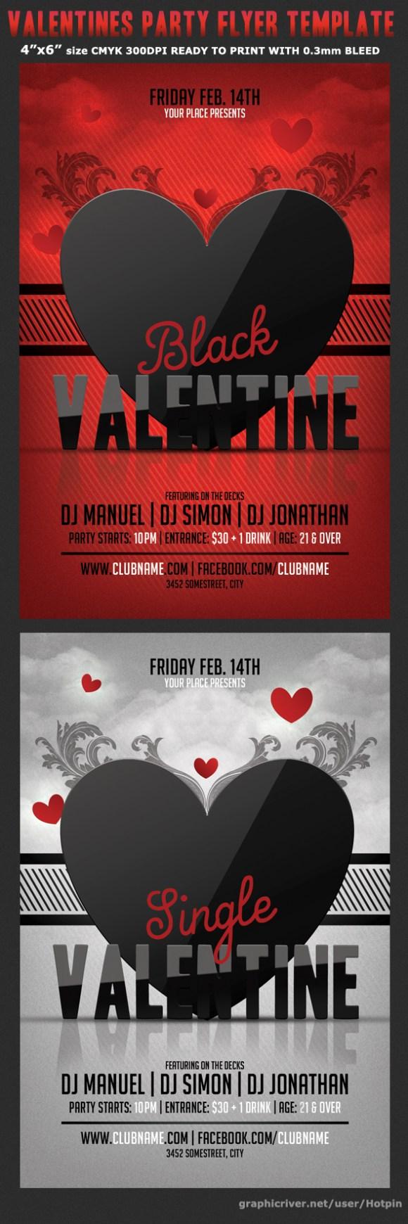 Black Valentine Party Flyer Template Flyerstemplates