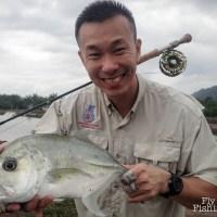 Fly fishing Jugra Pond at Banting Selangor Malaysia