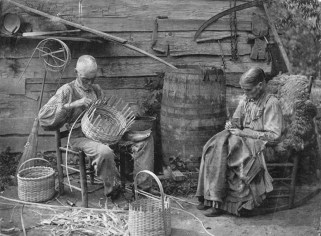 Old Man Henry and his wife making baskets