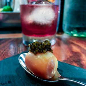 Smoked Quail egg and caviar at Burnt Ends Singapore