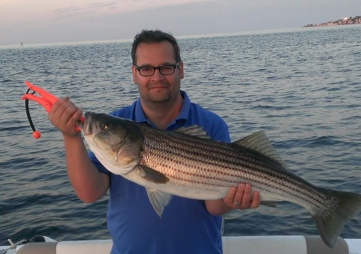 Mike's 40 inch light tackle striper in Boston Harbor