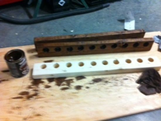 ... staining the rod rack!