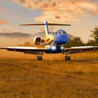 THE PILATUS PC-24 SUPER VERSATILE JET TAKES OFF AND LANDS ON GRASS RUNWAY