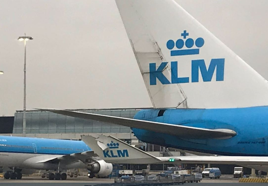 KLM B747 and B787 collision at Amsterdam Airport. Photo ©: Terri @Skiviolet on Twitter