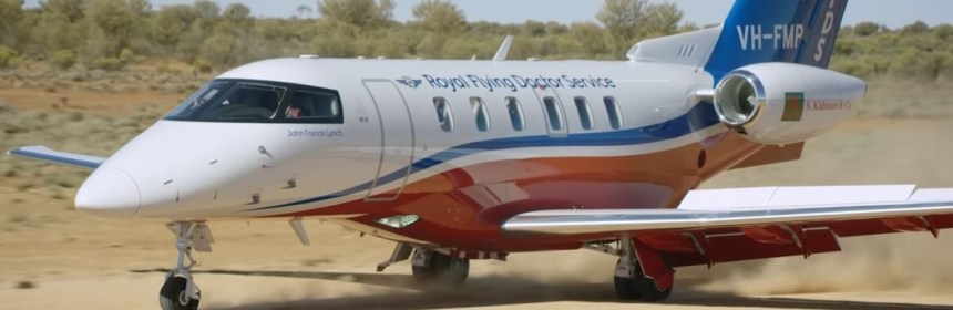 First Flying Doctors PC-24 landing on an unpaved strip in the Australian Outback