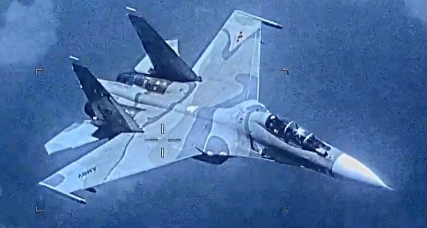 Venezuelan Air Force Su-30 Flanker intercepting U.S. Navy EP-3E ARIES II