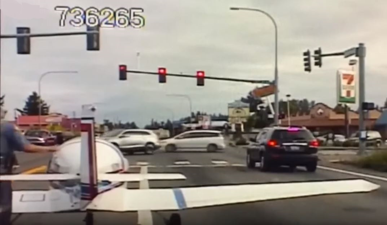 Plane lands on road in Spanaway, Washington