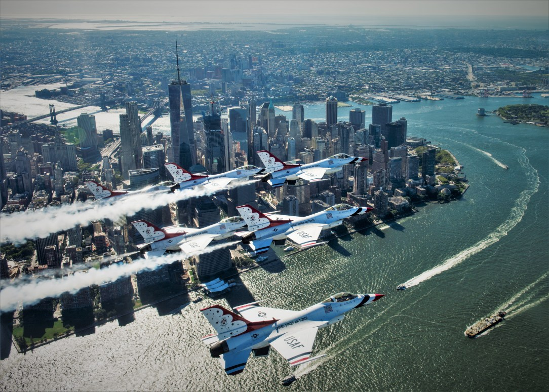 Thunderbirds and Red Arrows fly over New York City