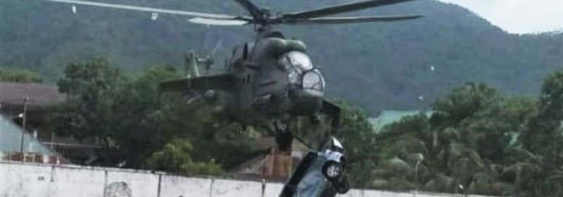 Indonesian mil mi-35 helicopter collided with a car during takeoff