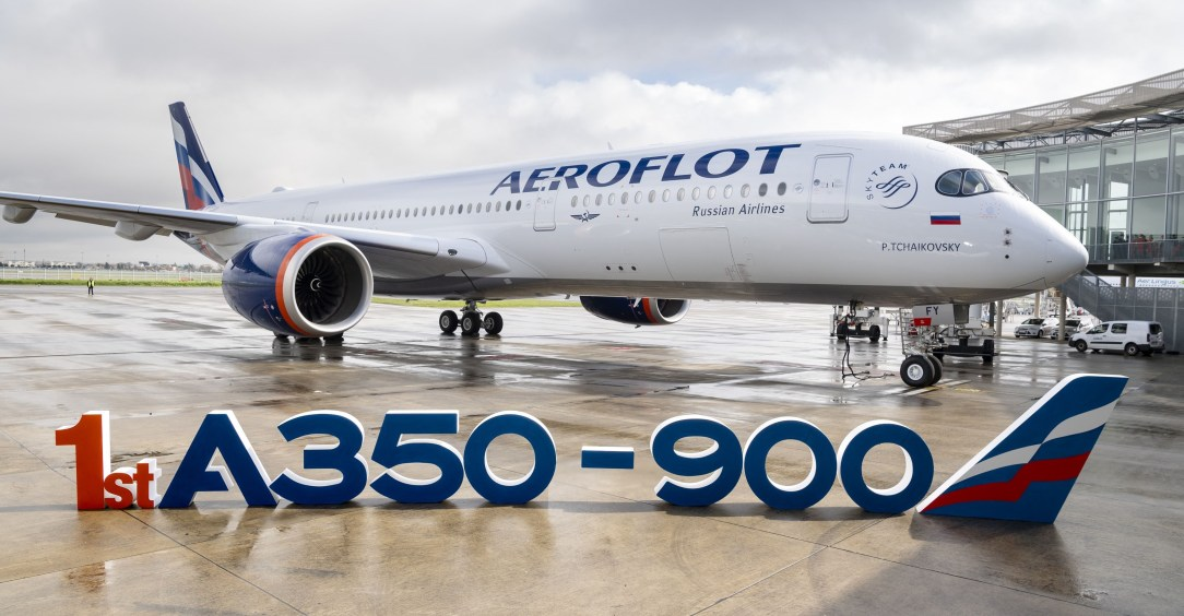Aeroflot receives first A350 with new livery