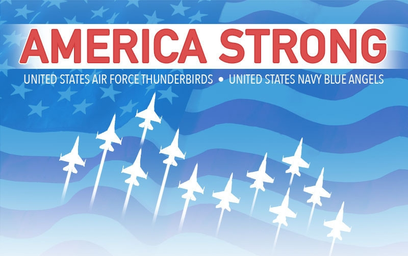 America Strong - USAF Thunderbirds and US Navy Blue Angels will perform a flyover in Newark, New York City and Pennsylvania