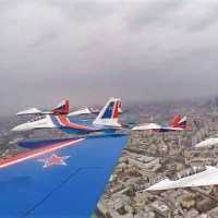 MASSIVE FLYOVER IN MOSCOW OVER THE RED SQUARE MARKS THE 75th ANNIVERSARY OF VICTORY DAY IN RUSSIA
