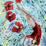 Floating with Red Hibiscus