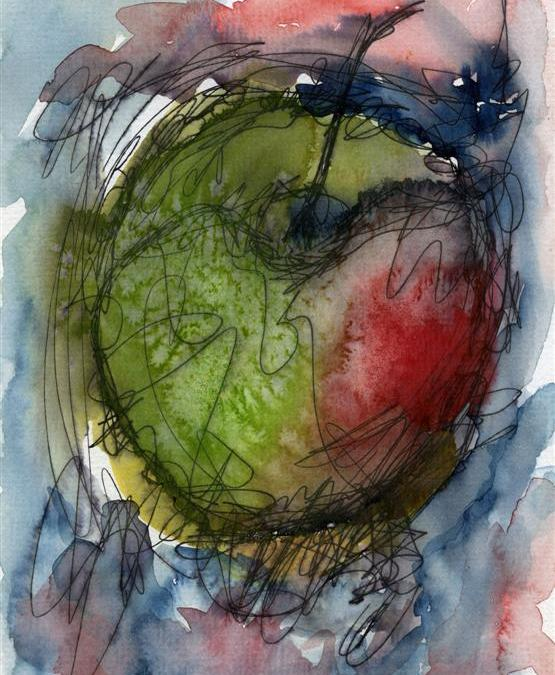 Apple, ink and watercolour