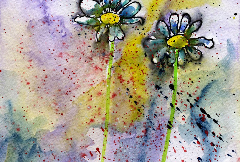 ink and watercolour flowers