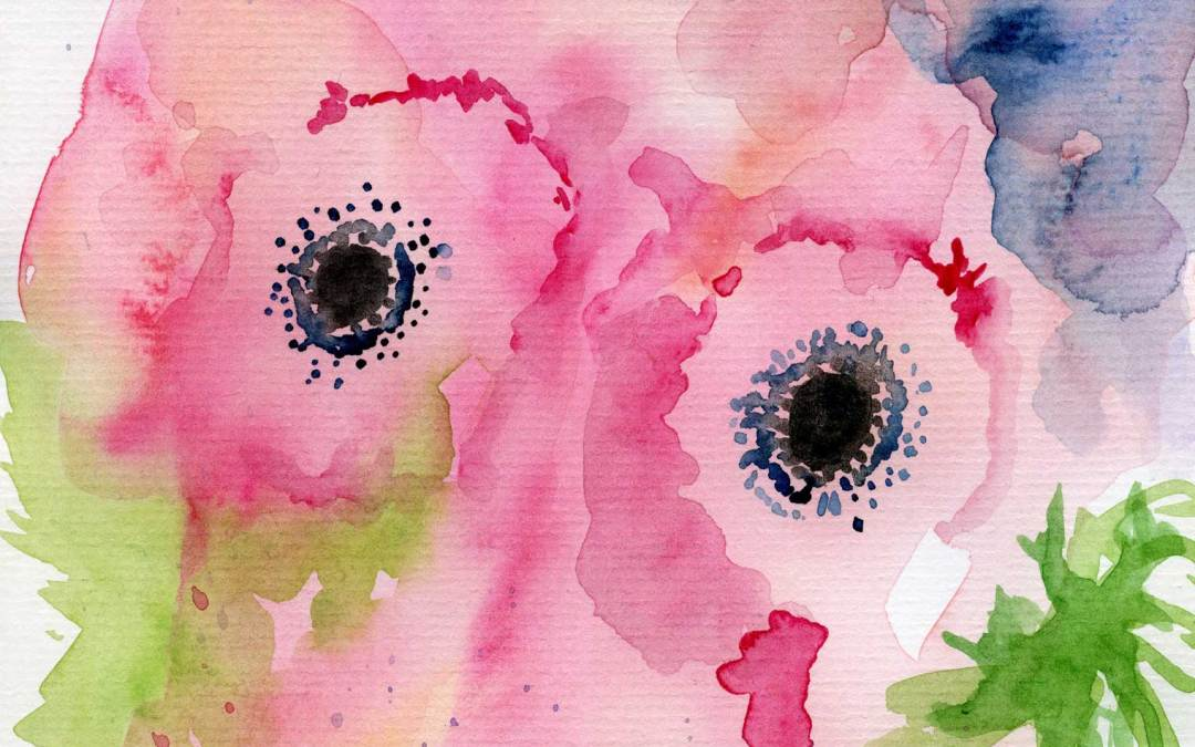 Two pink flowers – Daily Painting #521 (SOLD)
