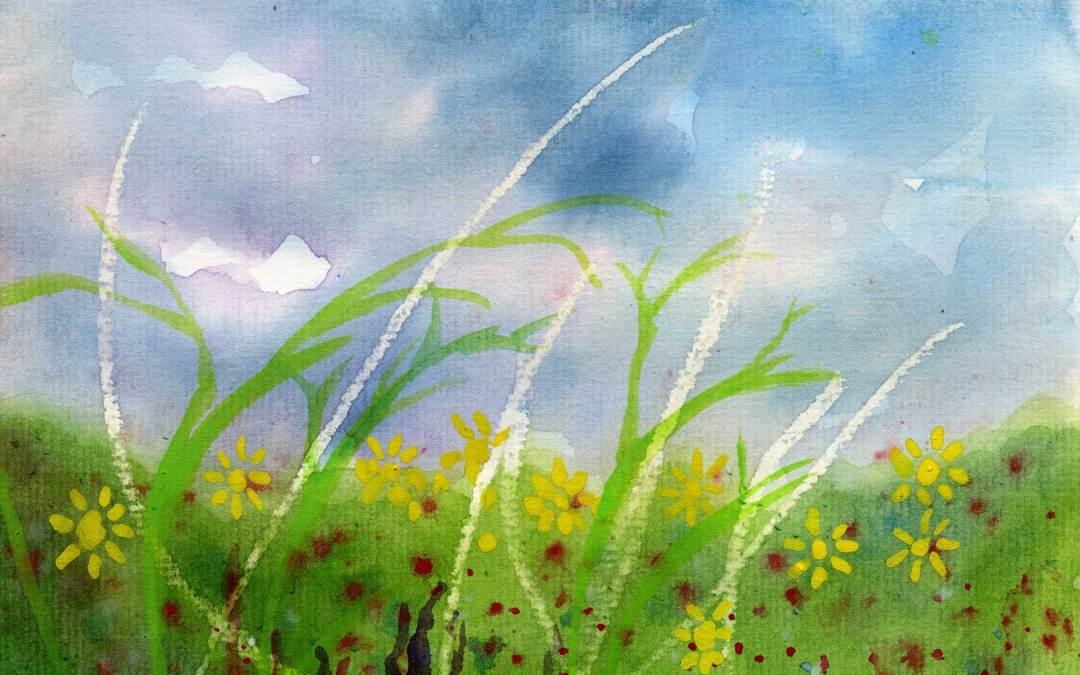 Flowers and grass meadow – Daily painting #526