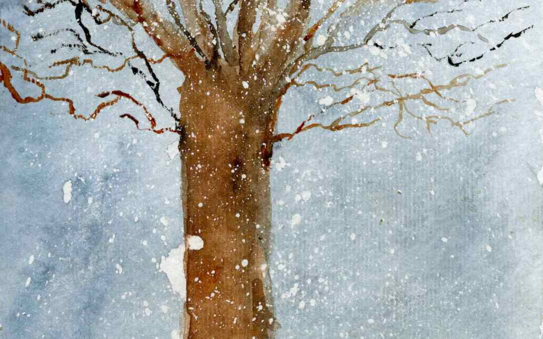 Winter tree in the snow – Daily painting #538 (SOLD)