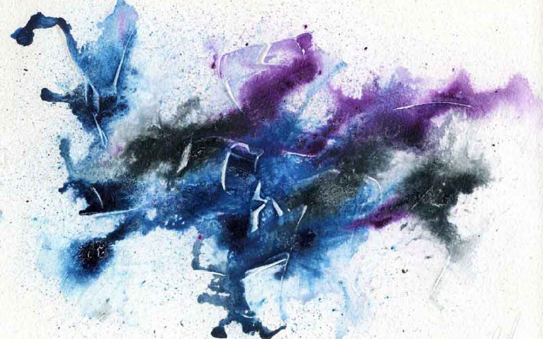 Purple, blue, and black Abstract painting – Daily painting #949