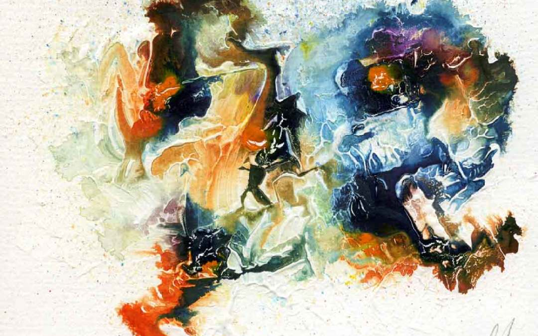 Orange and blue abstract – Daily painting #1046 (SOLD)