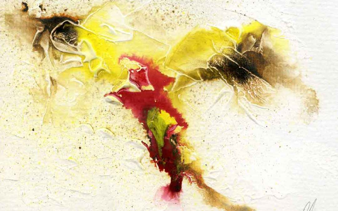 Yellow, brown and pink abstract – Daily Painting #1097