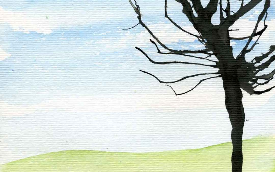 Tree on watercolour landscape – Daily painting #1128 (SOLD)
