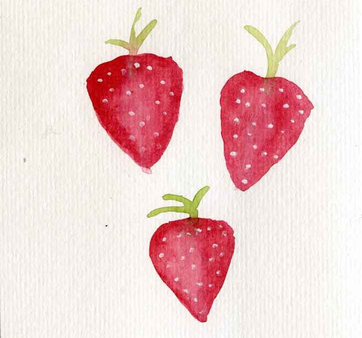 Three strawberries – Daily painting #1161