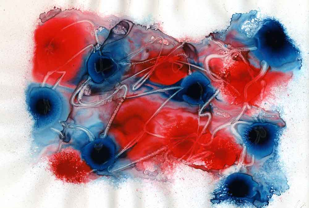 Red and blue abstract painting – Daily painting #1187