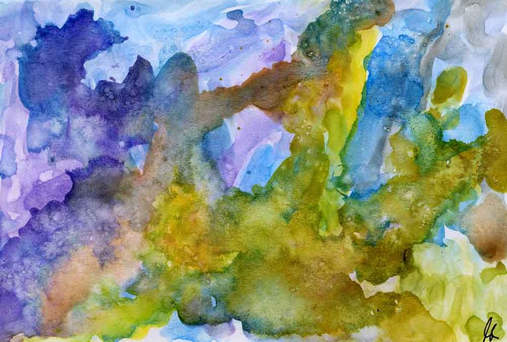 Blue, green and yellow abstract – Daily painting #1217