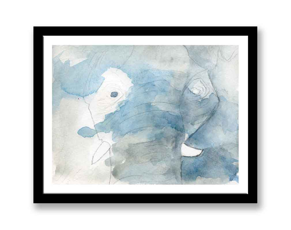 Blue abstract elephant  (#627)
