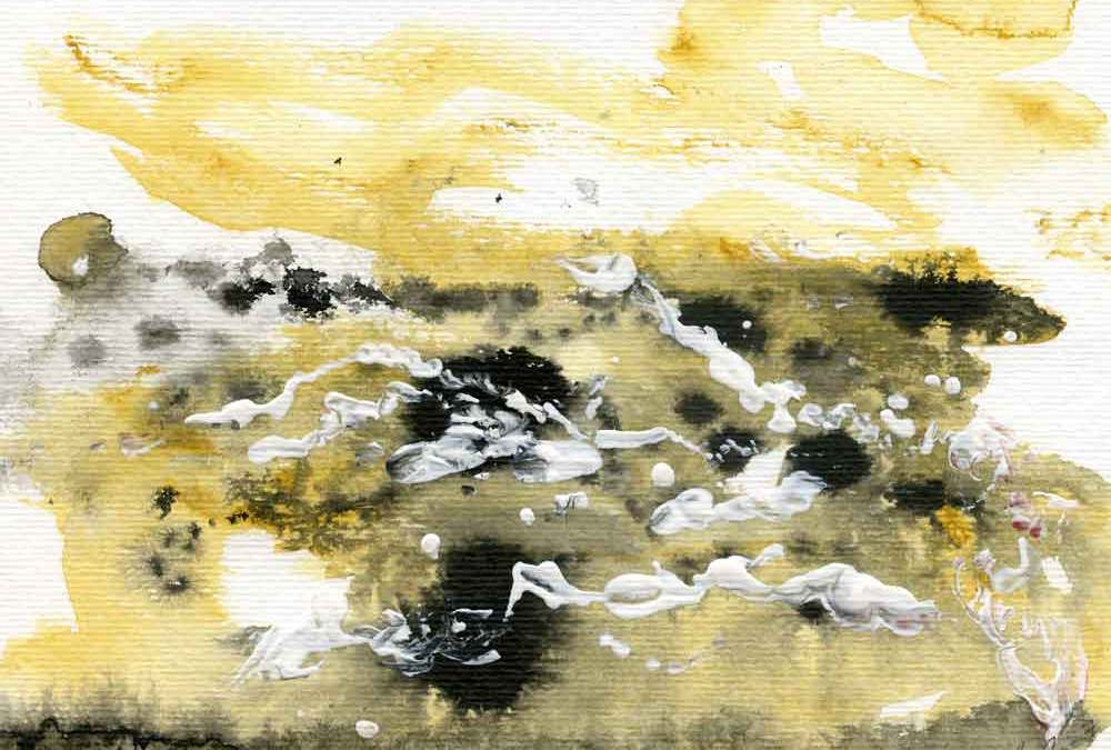 Yellow and black abstract landscape (#639)