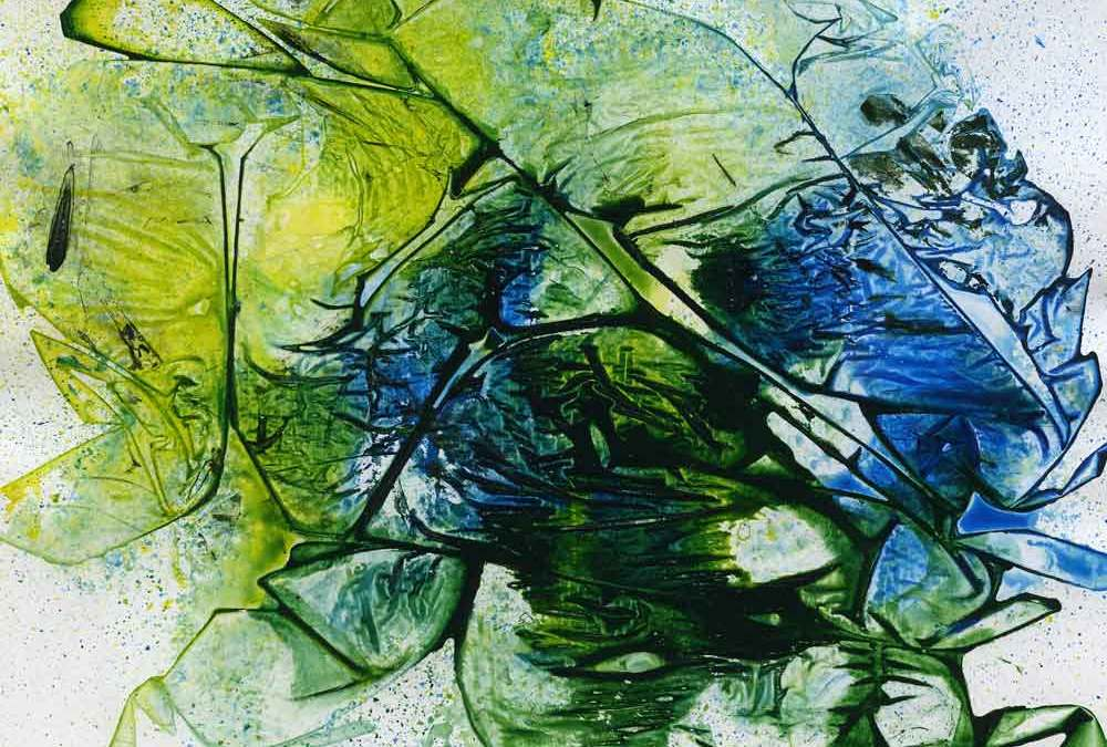 Yellow, Green and blue abstract (#1351)