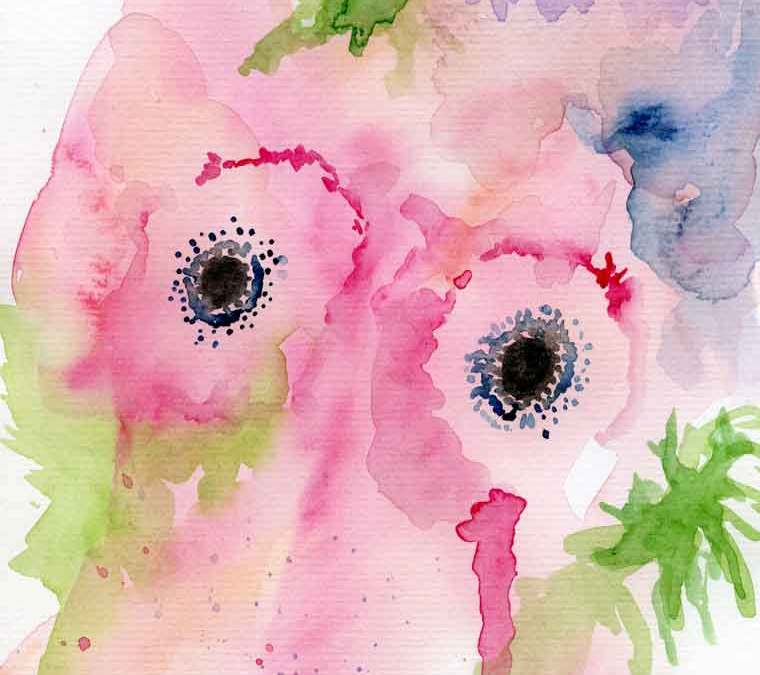 Pink abstract flowers watercolour print (#196)