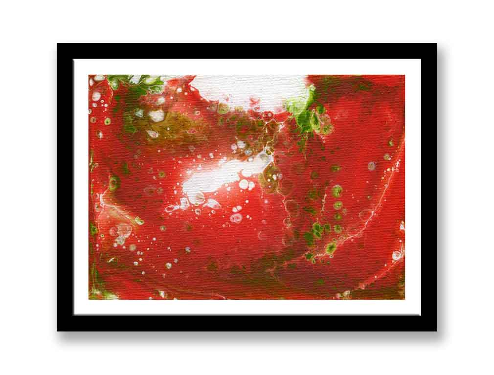 Red, green and white fluid acrylic abstract (#1388)