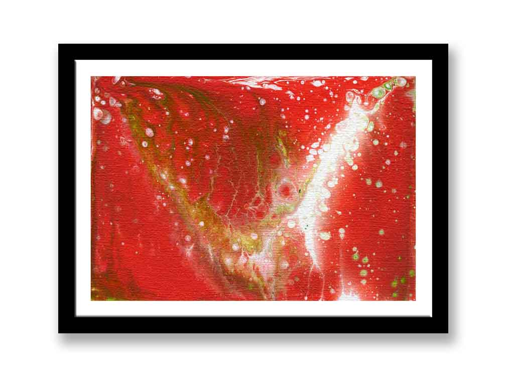 Abstract Red, green and white Acrylic Painting (#1389)