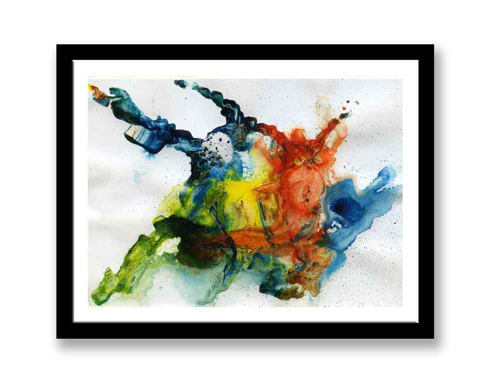 Blue, red and yellow abstract print (#1400)