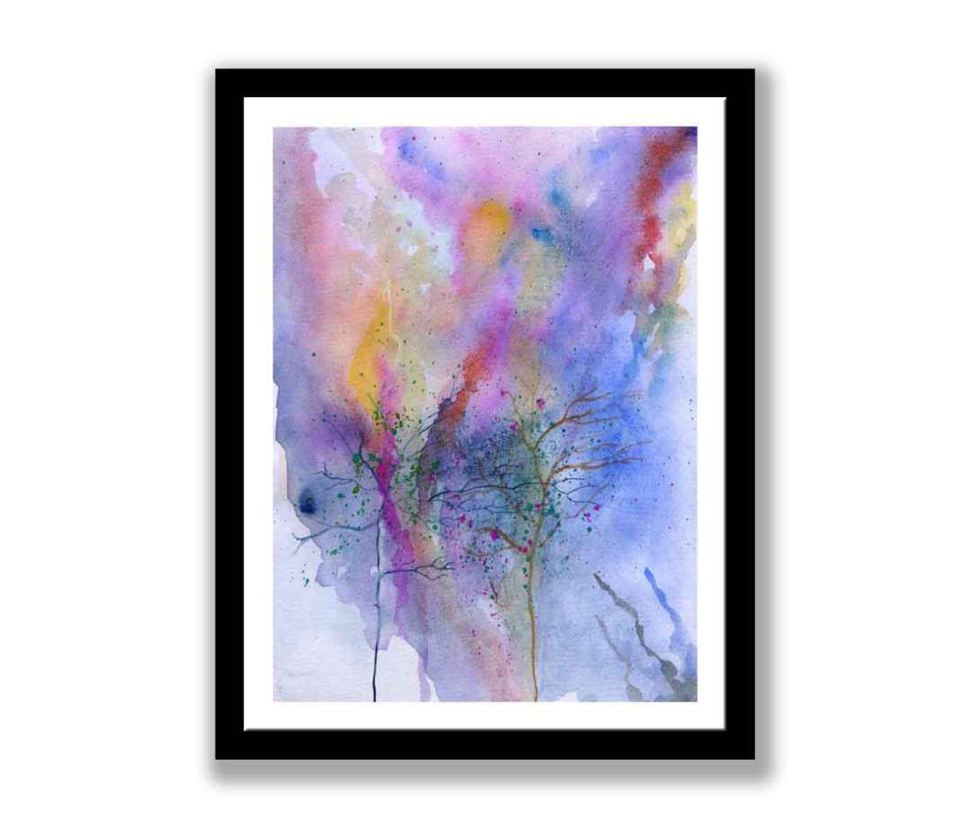 Trees on watercolour abstract (#313)