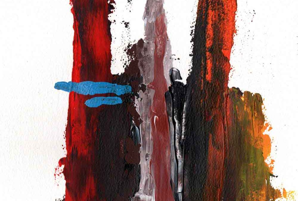 Red, brown, yellow and blue abstract (#1545)