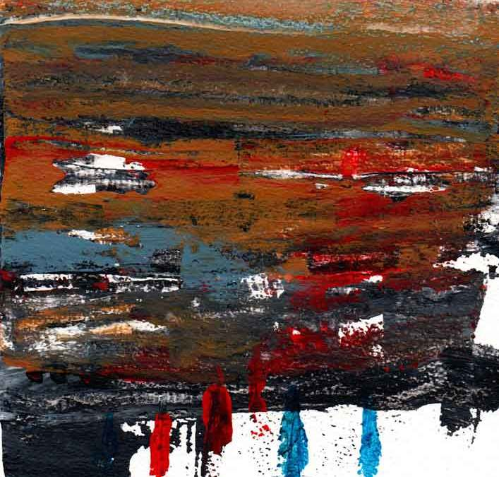 Brown, Red and Blue abstract (#1547)