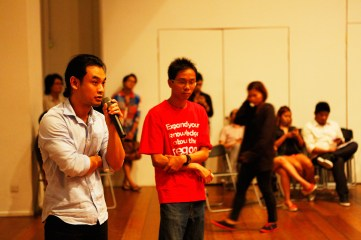 20 Jan, Theatre Performer Lin Htet poses a question about the Docu-Film of Cyclone Nargiss to Wathann Film Festival Thaiddhi & Thu Thu Shein , FCP Day 5, 72-13, Singapore