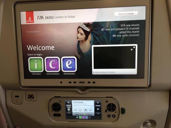 Economy seatback screen on Emirates Airbus A380