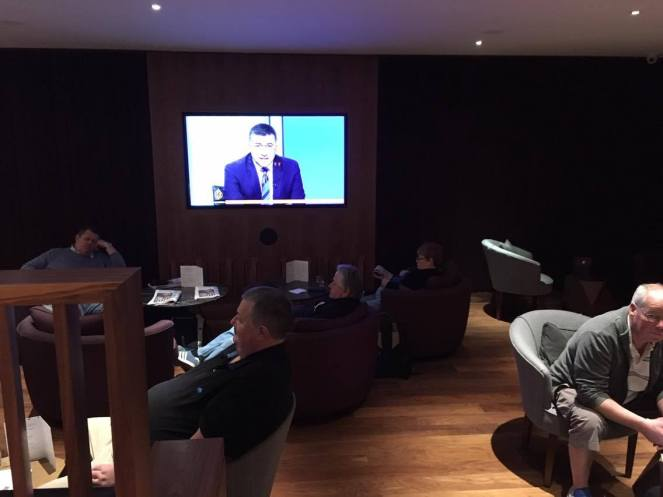 Seating and TV in the No1 Traveller Lounge Gatwick North terminal