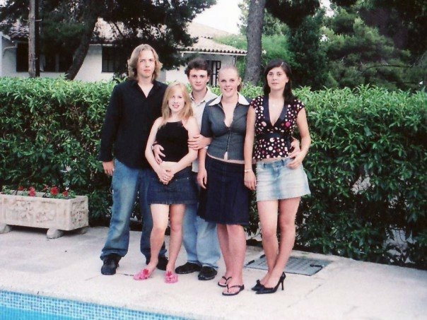 Joe, me, Gaby, Louise and Laura by the pool.