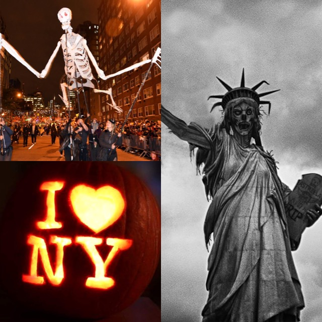 Top left a giant skeleton puppet in a street parade, bottom left I [heart] NY carved in a pumpin, right a skeletal black and white Statue of Liberty