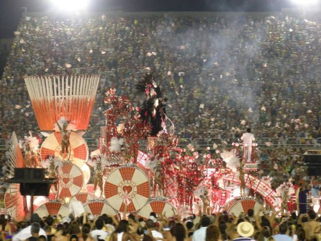 a red and white colourful parade float in the Sambadrome, Rio de Janeiro, Brazil
