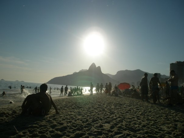 Sunset at Ipanema beach behind the two brothers mountains