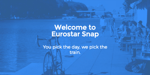 Screenshot of Eurostar Snap welcome page